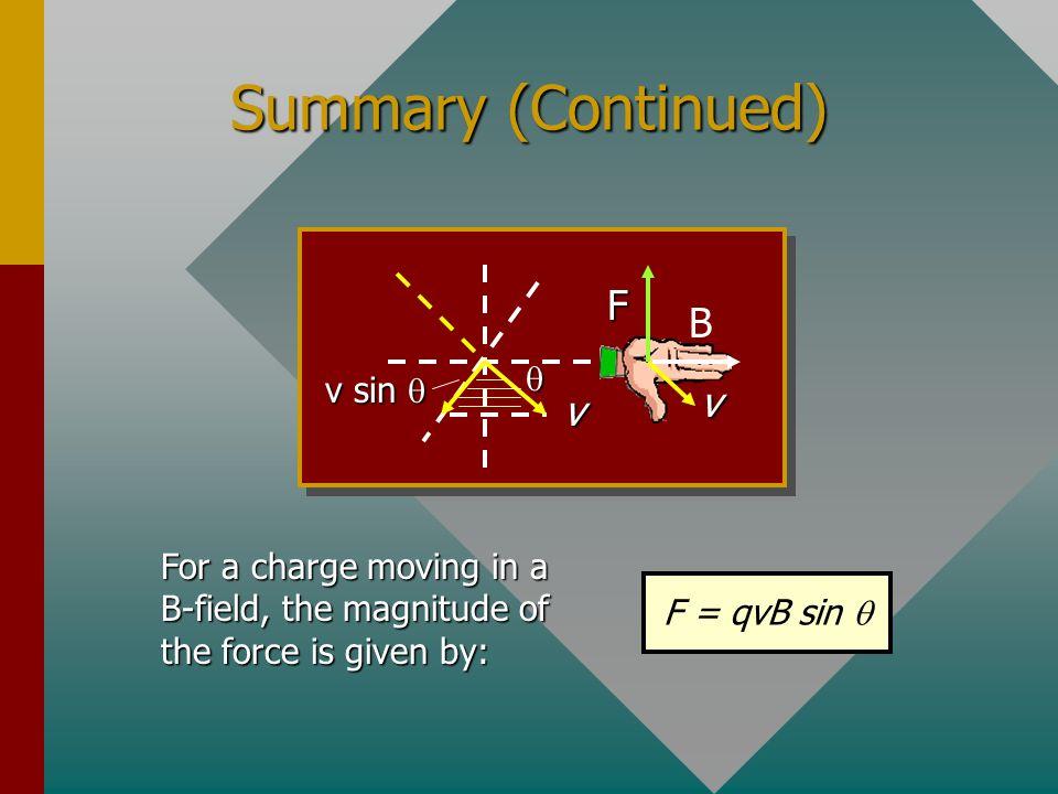 Summary (Continued) F B v q v sin q