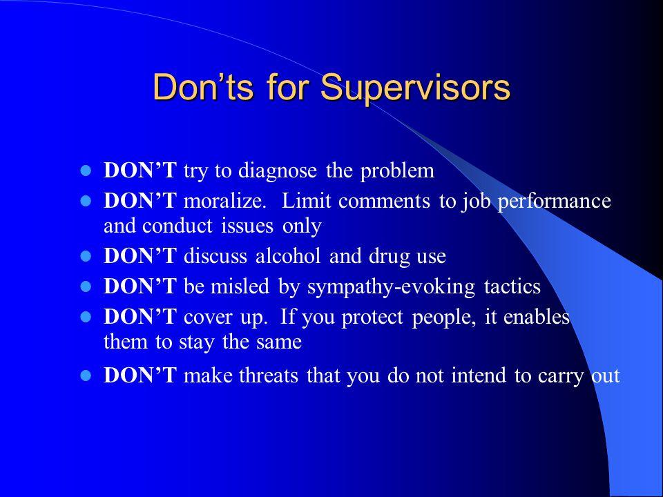 Don'ts for Supervisors