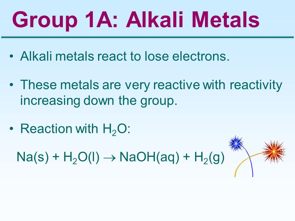 Group 1A: Alkali Metals Alkali metals react to lose electrons.
