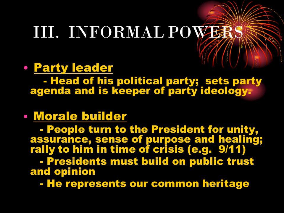 III. INFORMAL POWERS Party leader