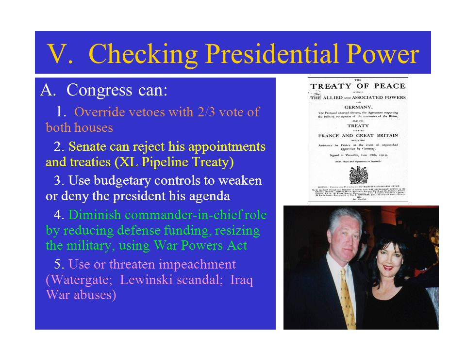 V. Checking Presidential Power