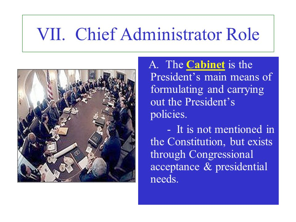 VII. Chief Administrator Role