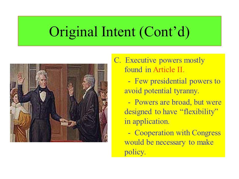 Original Intent (Cont'd)