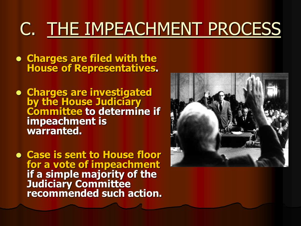 essay on congress impeachment The impeachment process of president clinton was similar to the impeachment trial of president andrew johnson as both ended in acquittal and like president clinton, johnson was a democratic president who faced a republican controlled congress .