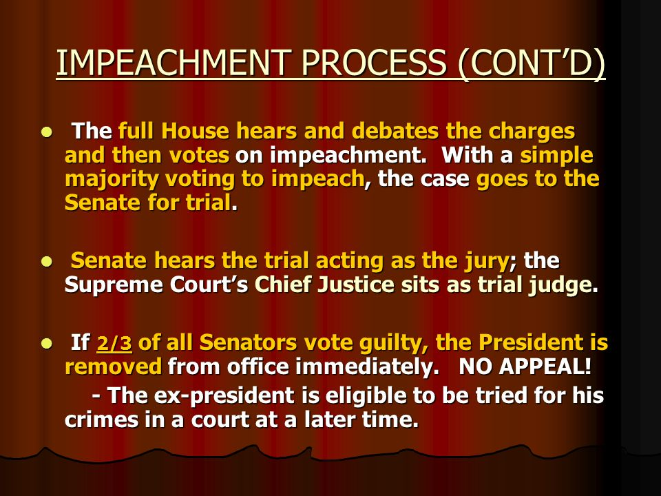 IMPEACHMENT PROCESS (CONT'D)