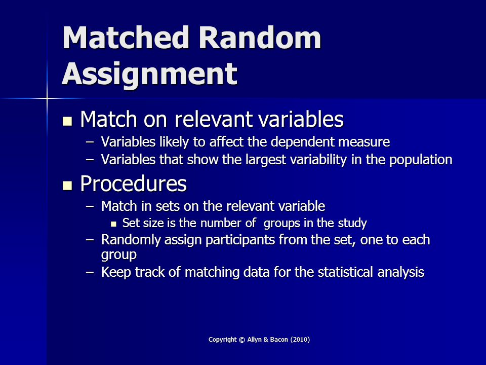 Matched Random Assignment