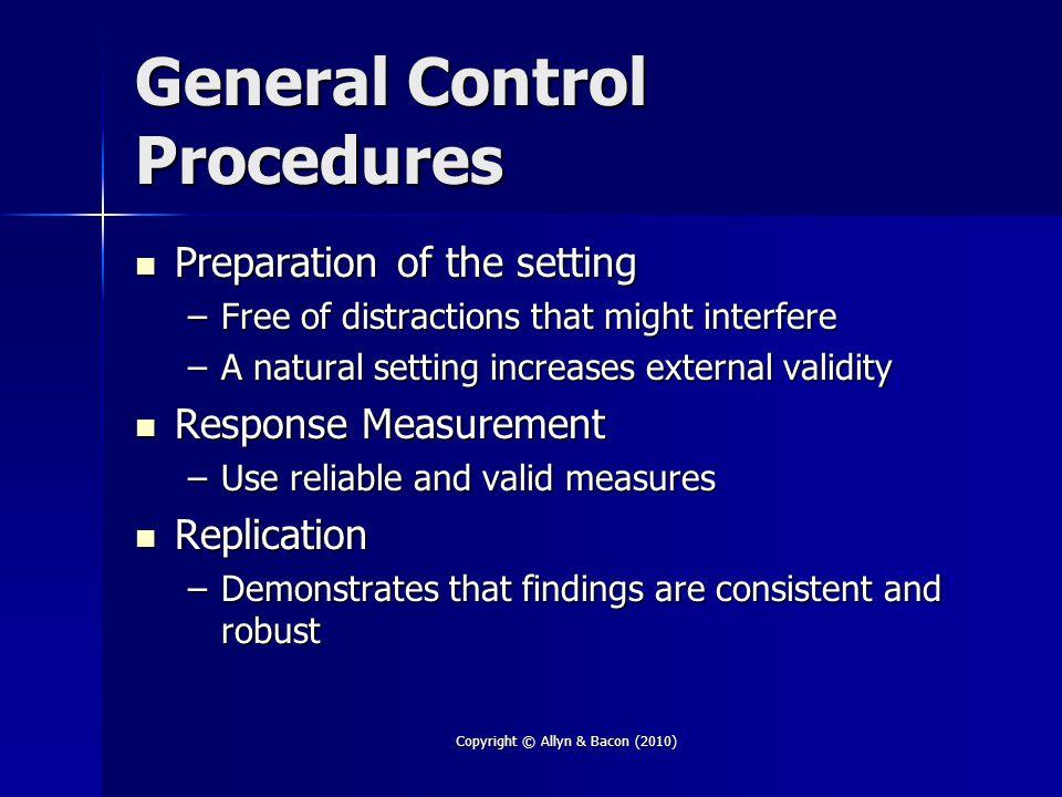 General Control Procedures