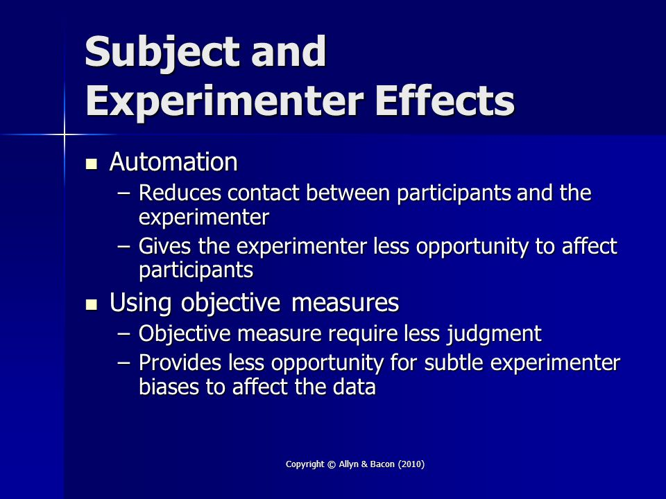 Subject and Experimenter Effects