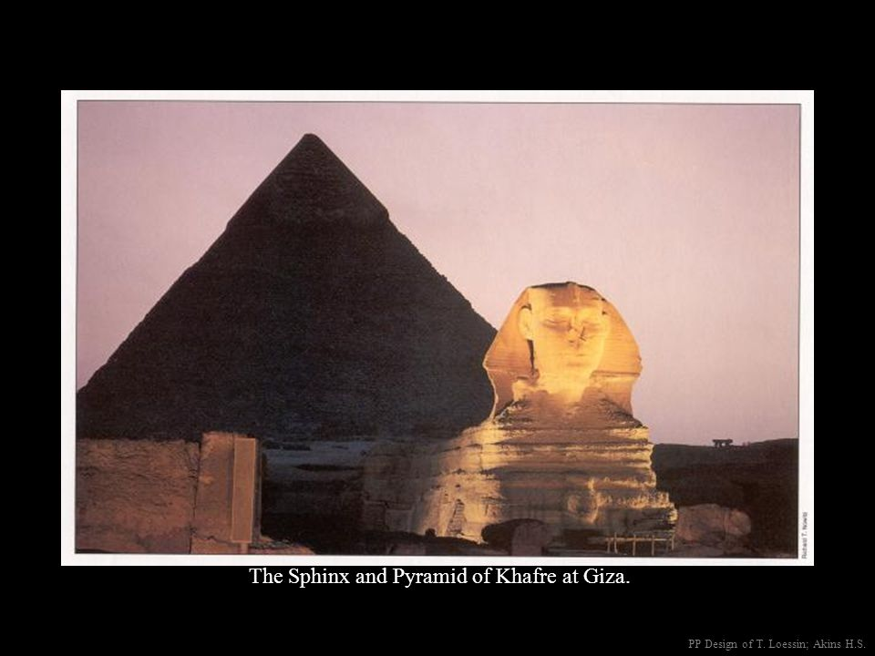 The Sphinx and Pyramid of Khafre at Giza.