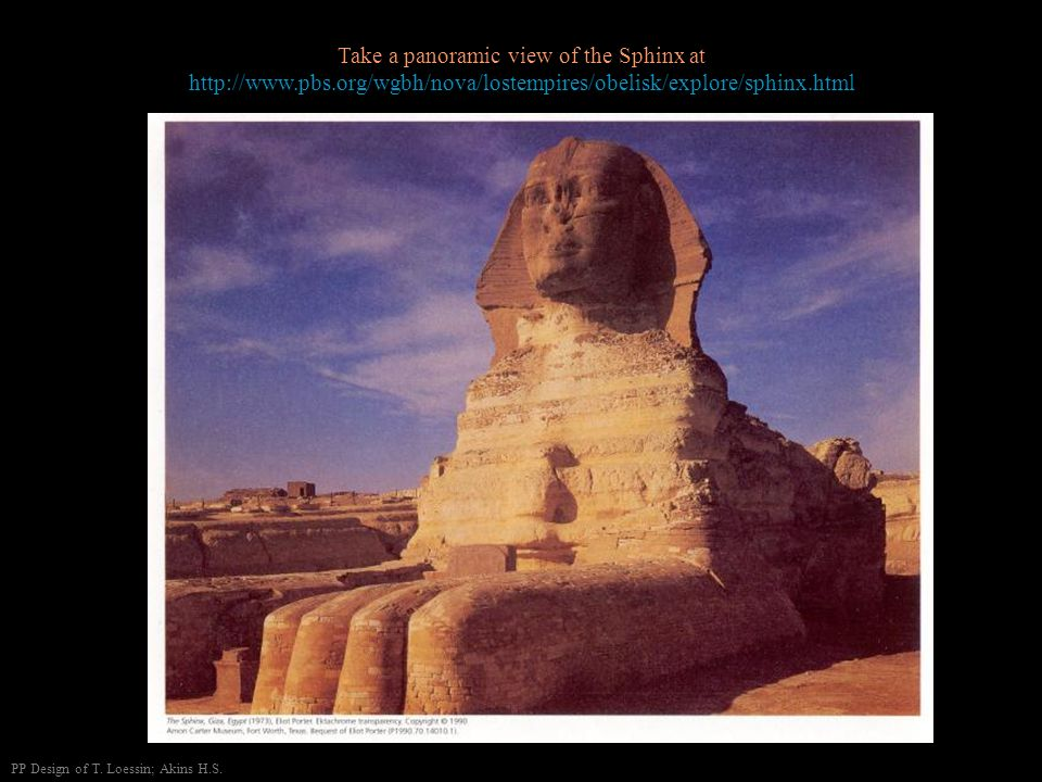 Take a panoramic view of the Sphinx at   pbs