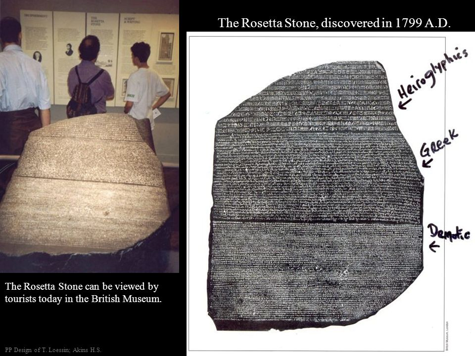 The Rosetta Stone, discovered in 1799 A.D.