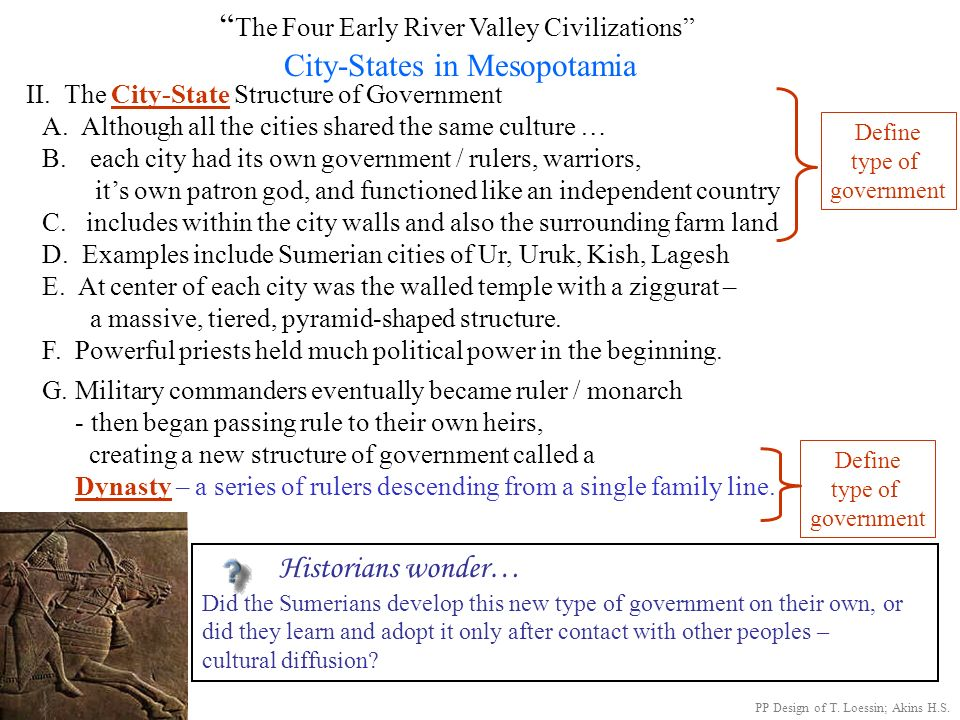 The Four Early River Valley Civilizations City-States in Mesopotamia