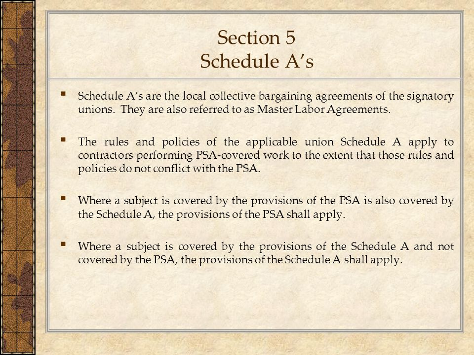 Section 5 Schedule A's