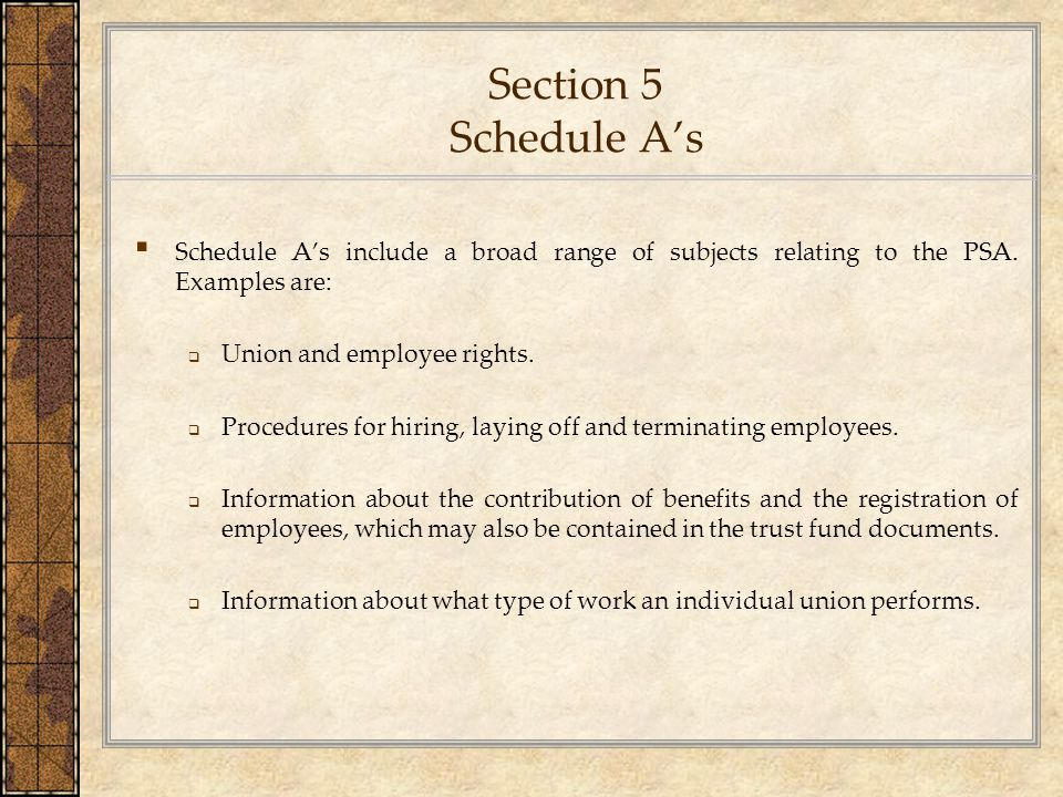 Section 5 Schedule A's Schedule A's include a broad range of subjects relating to the PSA. Examples are: