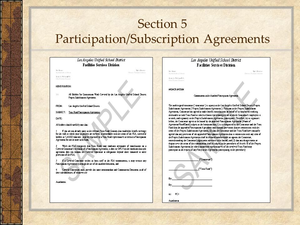 Section 5 Participation/Subscription Agreements