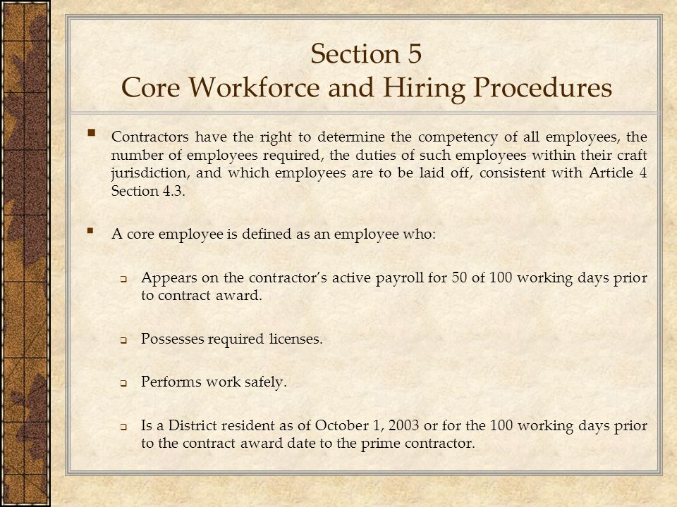 Section 5 Core Workforce and Hiring Procedures