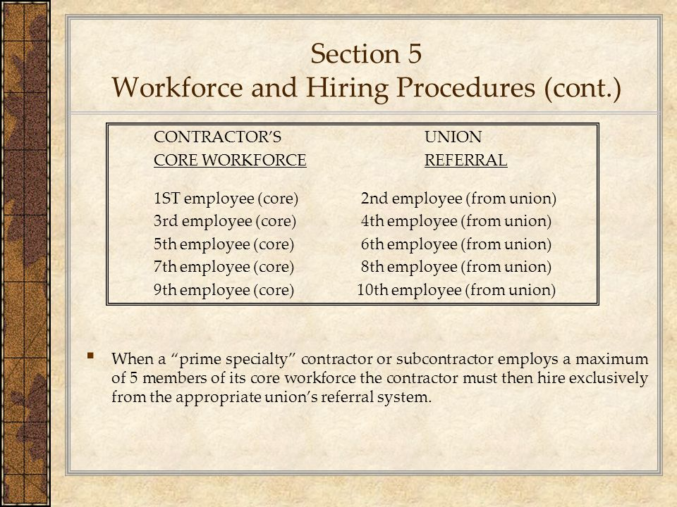 Section 5 Workforce and Hiring Procedures (cont.)