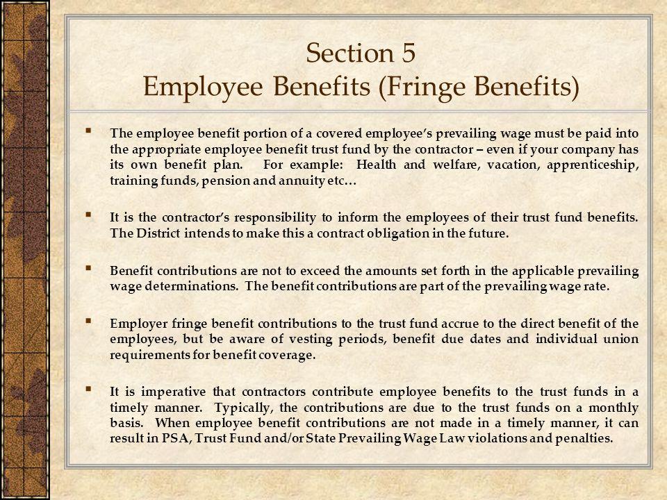Section 5 Employee Benefits (Fringe Benefits)