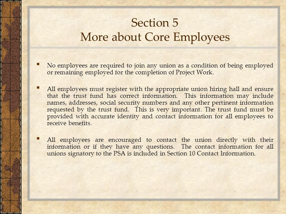 Section 5 More about Core Employees