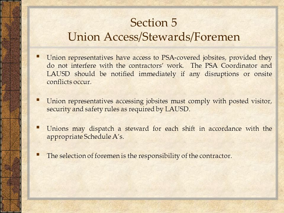 Section 5 Union Access/Stewards/Foremen