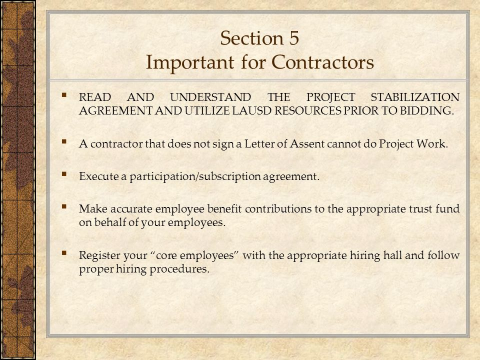 Section 5 Important for Contractors