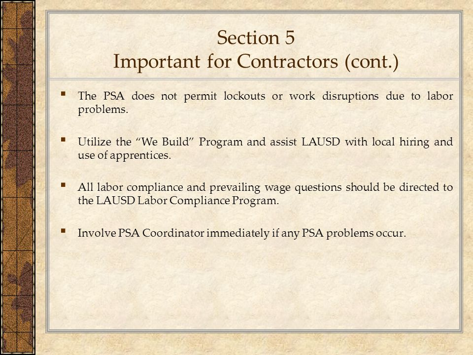 Section 5 Important for Contractors (cont.)