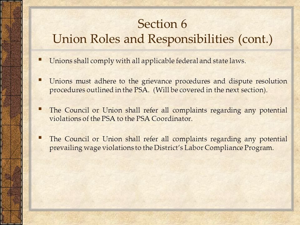 Section 6 Union Roles and Responsibilities (cont.)