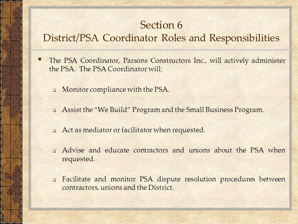Section 6 District/PSA Coordinator Roles and Responsibilities