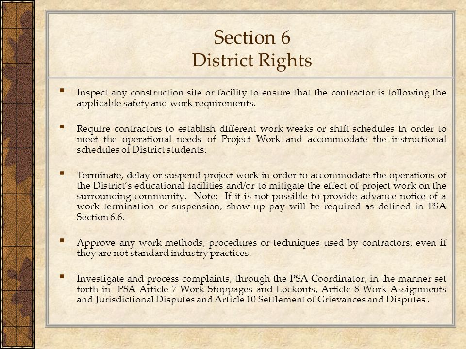 Section 6 District Rights
