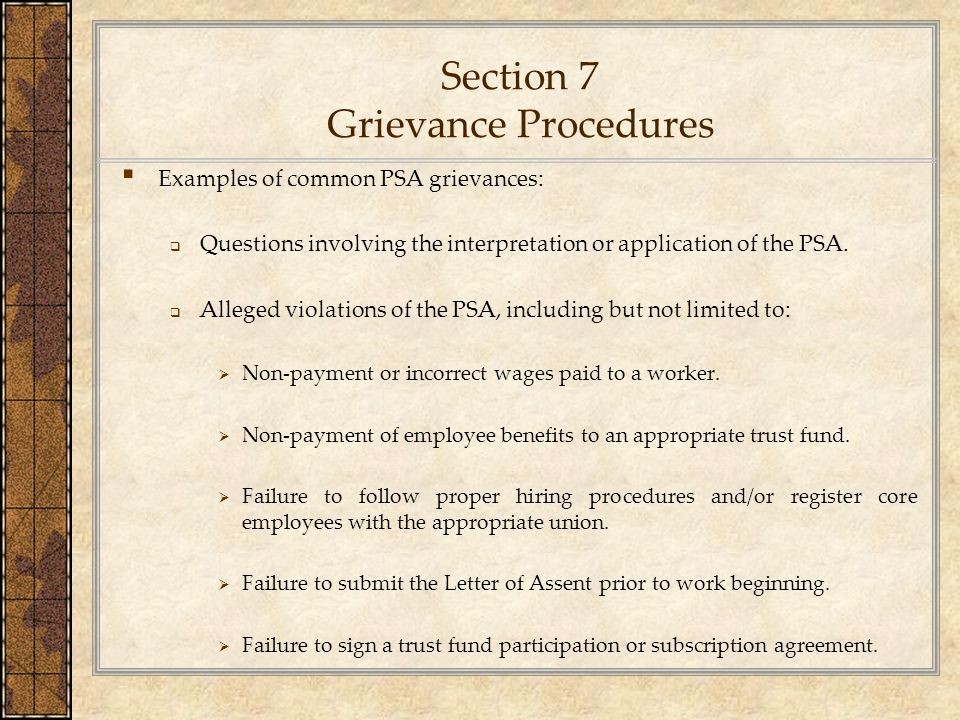 Section 7 Grievance Procedures
