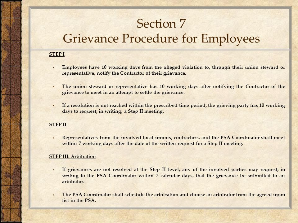 Section 7 Grievance Procedure for Employees