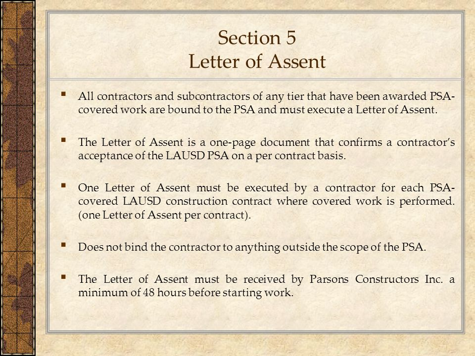 Section 5 Letter of Assent