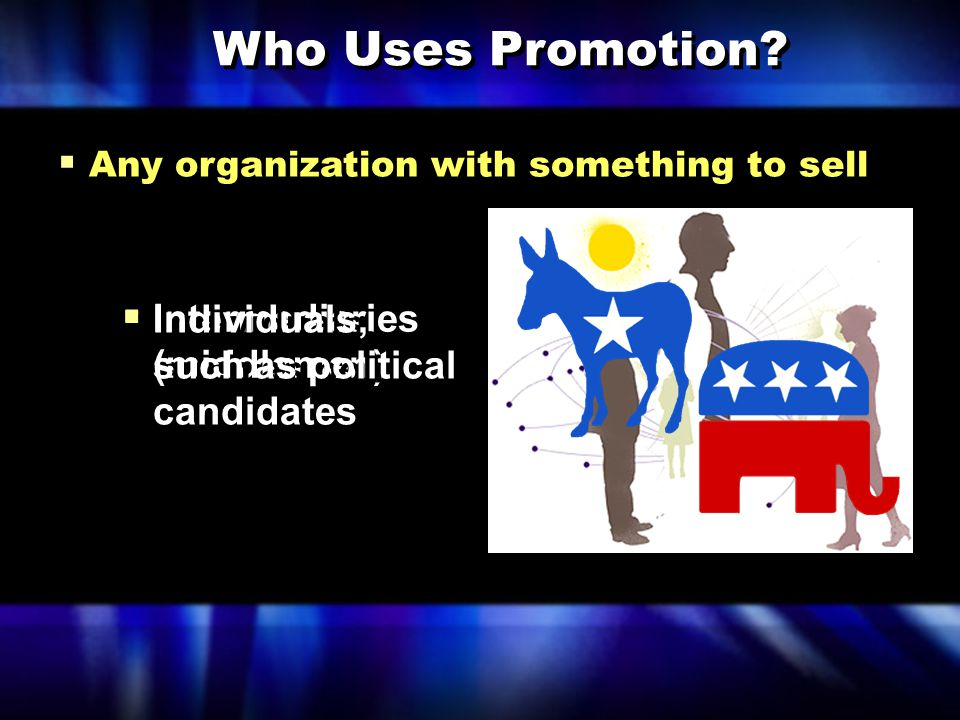 Who Uses Promotion Individuals, such as political candidates