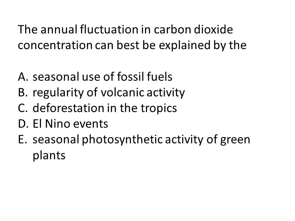 The annual fluctuation in carbon dioxide concentration can best be explained by the
