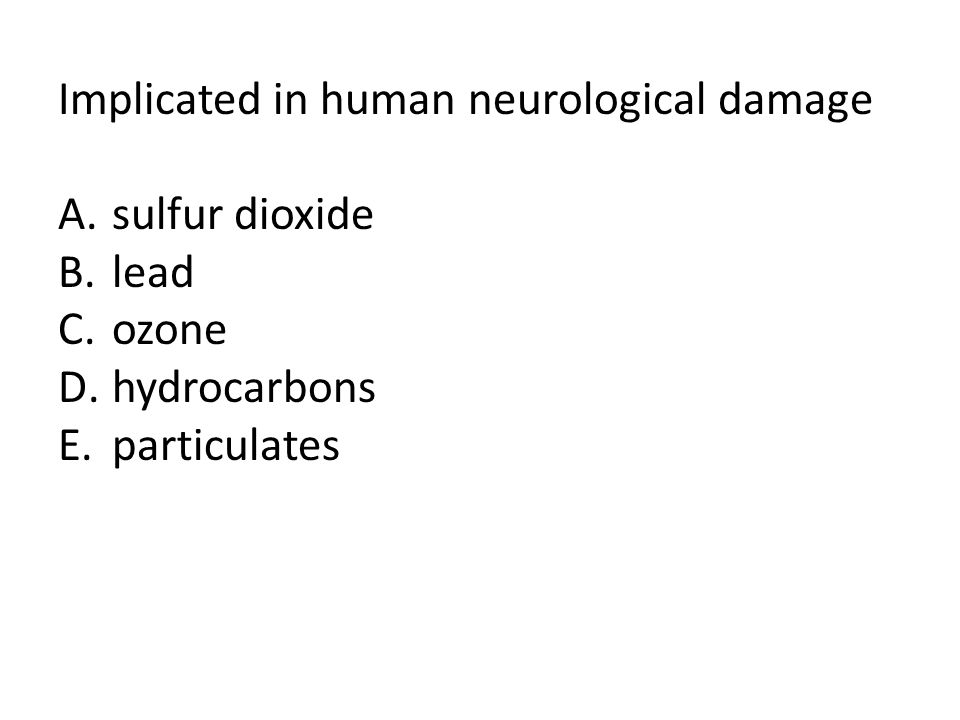 Implicated in human neurological damage