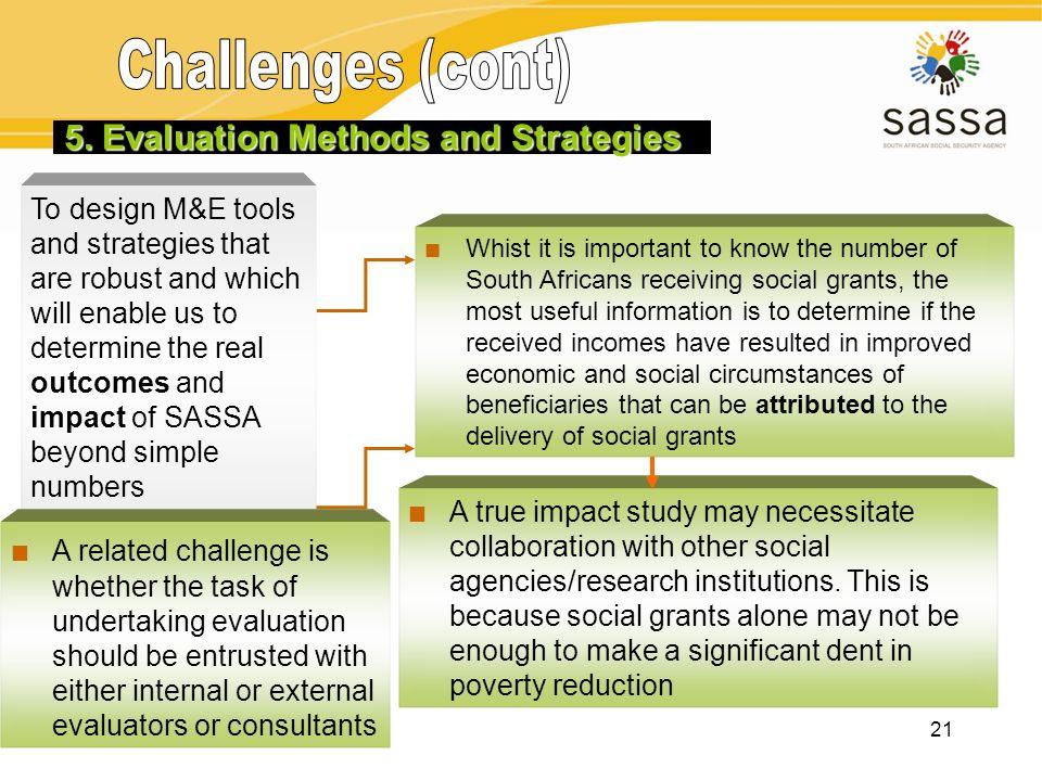 Challenges (cont) 2. M&E Framework