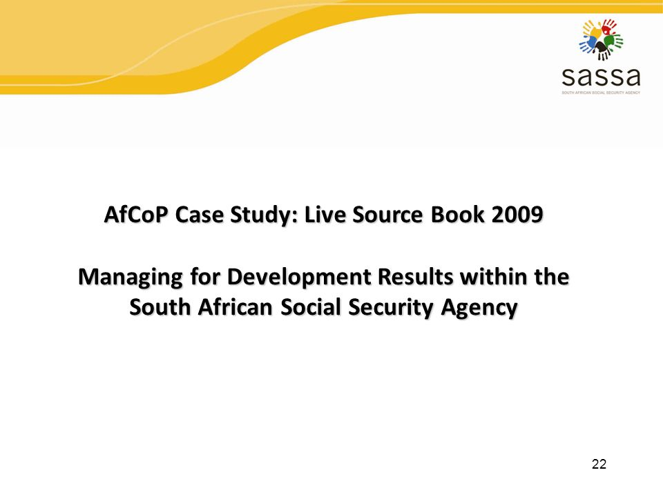 AfCoP Case Study: Live Source Book 2009