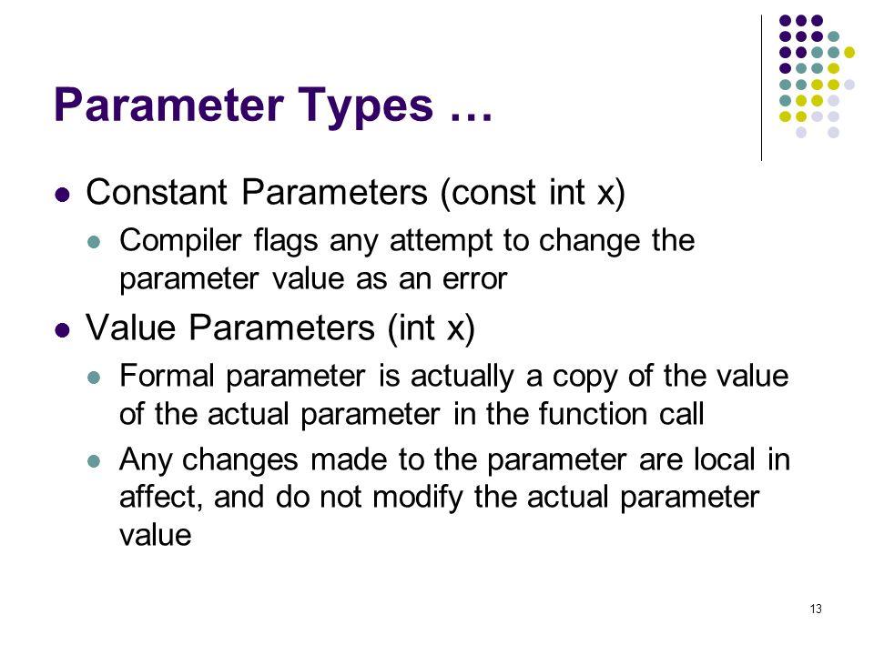 Parameter Types … Constant Parameters (const int x)