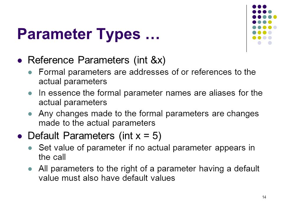 Parameter Types … Reference Parameters (int &x)