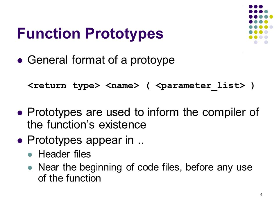 Function Prototypes General format of a protoype