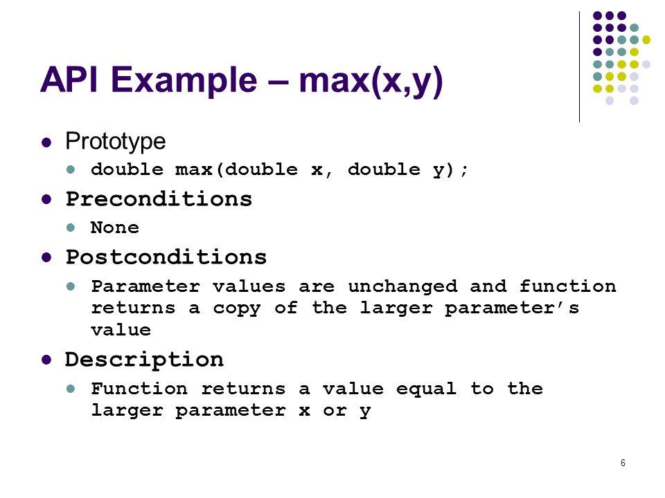 API Example – max(x,y) Prototype Preconditions Postconditions