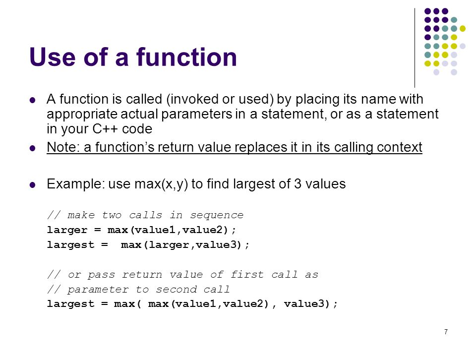 Use of a function