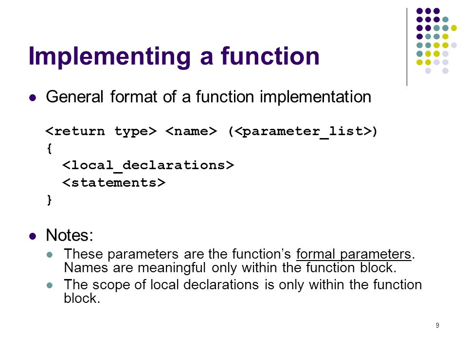 Implementing a function