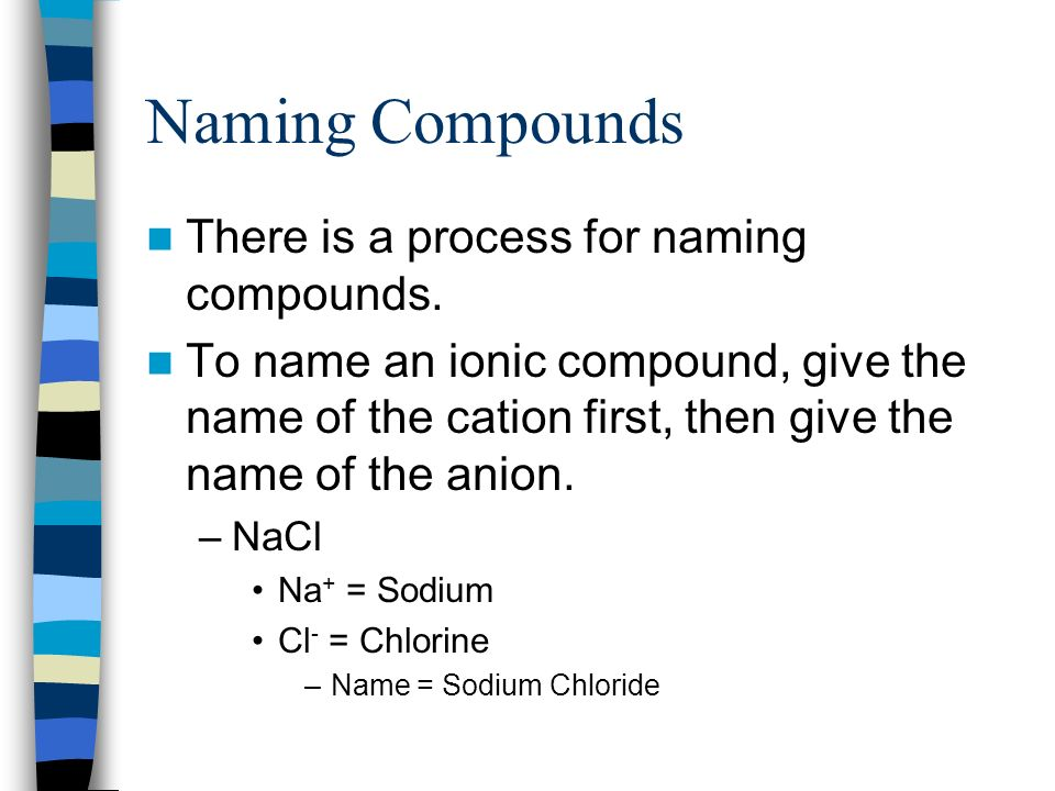 Naming Compounds There is a process for naming compounds.