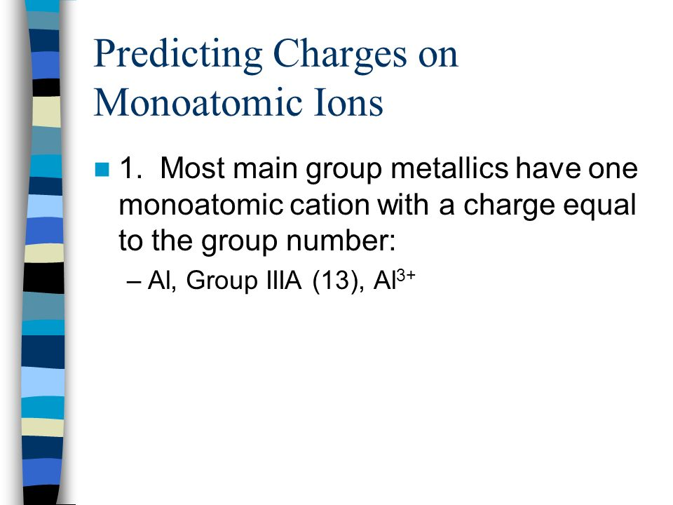 Predicting Charges on Monoatomic Ions