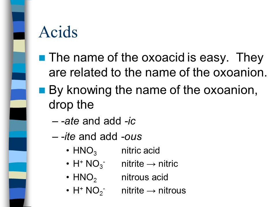 Acids The name of the oxoacid is easy. They are related to the name of the oxoanion. By knowing the name of the oxoanion, drop the.