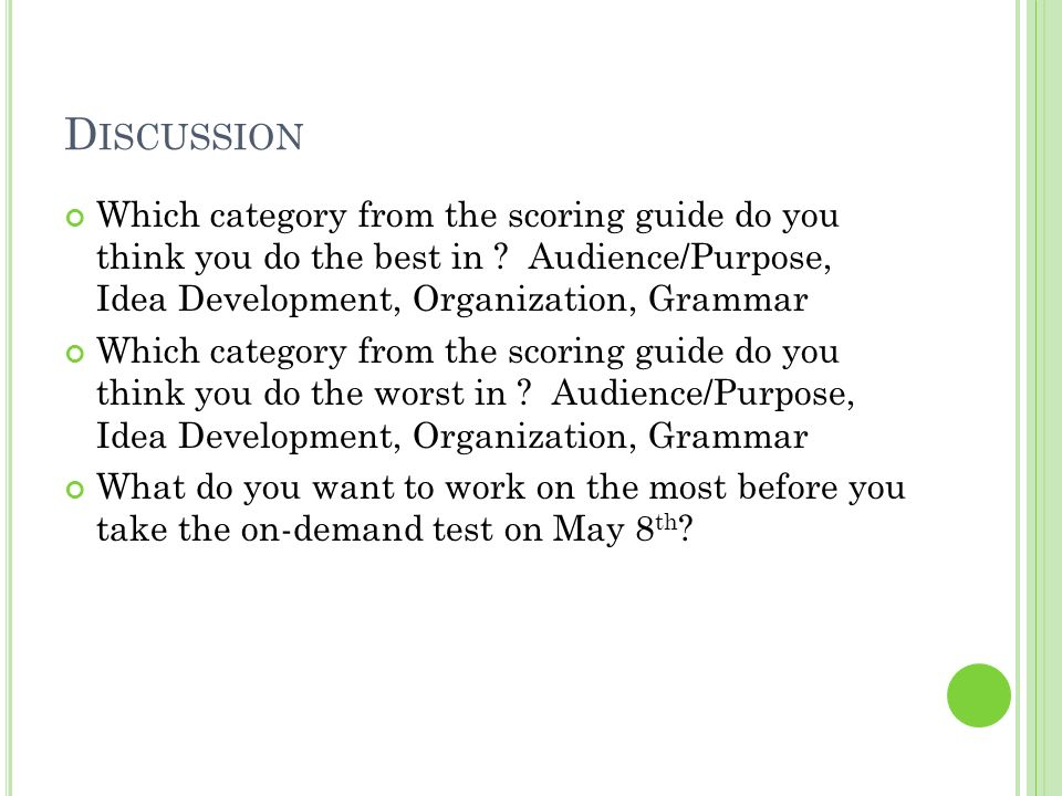 Discussion Which category from the scoring guide do you think you do the best in Audience/Purpose, Idea Development, Organization, Grammar.