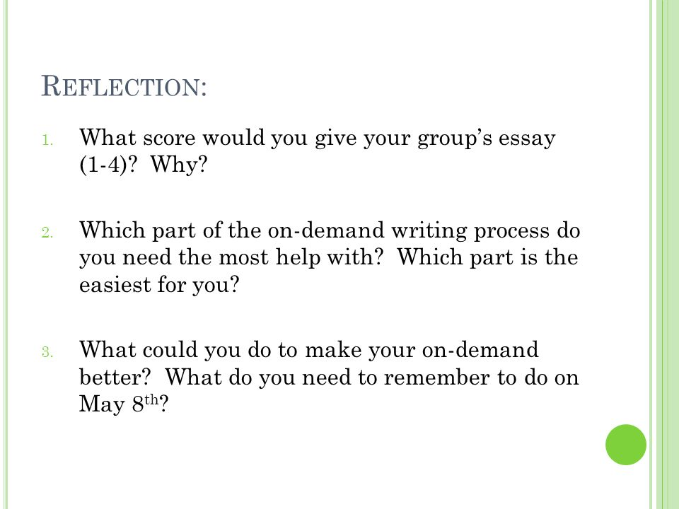 Reflection: What score would you give your group's essay (1-4) Why