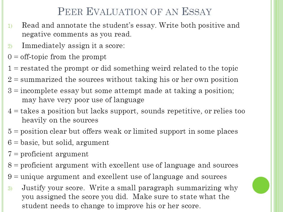how to write peer evaluation After you have selected or designed a writing assignment on a specific topic, but    sample forms - peer review - description of peer evaluation forms.