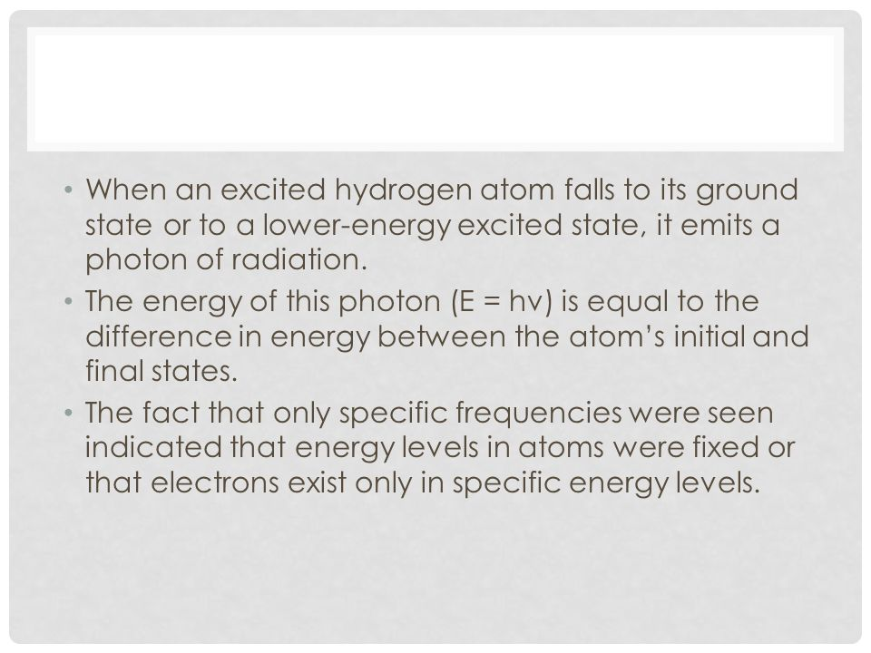When an excited hydrogen atom falls to its ground state or to a lower-energy excited state, it emits a photon of radiation.